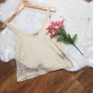 Piko 1988 lace floral crop top